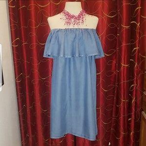 FOREVER 21 Off Shoulder Denim Dress